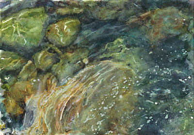 Waterscape Painting - Elbow River Rocks 4 by Madeleine Arnett