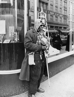 Anticipation Photograph - Elderly Blind Man Beggar by Underwood Archives