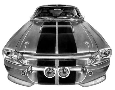 Pin Drawing - Eleanor Ford Mustang by Peter Piatt