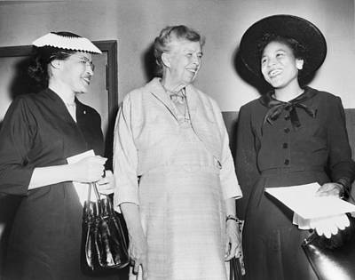 Eleanor Roosevelt, With Two African Print by Everett