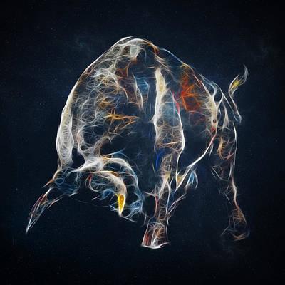 Portrait Digital Art - Electric Bull by - BaluX -