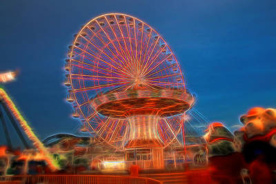 Gillian Digital Art - Electric Ferris Wheel by Allen Beatty