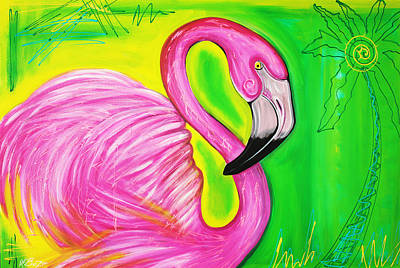 Tropical Island Painting - Electric Flamingo by Laura Barbosa