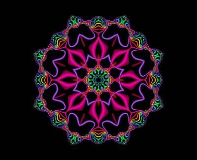 Abstract Digital Art - Electric Fractal Flower by Ruth Moratz