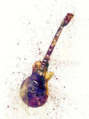 Guitar Digital Art - Electric Guitar Abstract Watercolor by Michael Tompsett