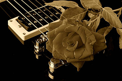 Electric Guitar And Rose Print by M K  Miller