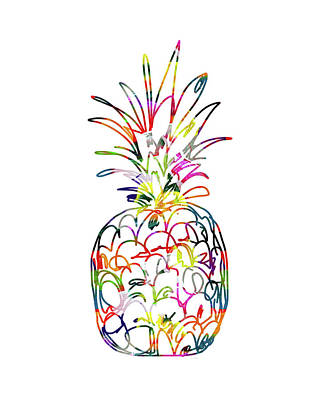 Pineapple Mixed Media - Electric Pineapple - Art By Linda Woods by Linda Woods