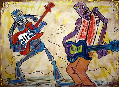 Guitar Player Painting - Electric Robots by Laura Barbosa