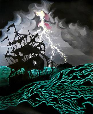 Pirate Ship Painting - Electric Turmoil by Nettie Nielson
