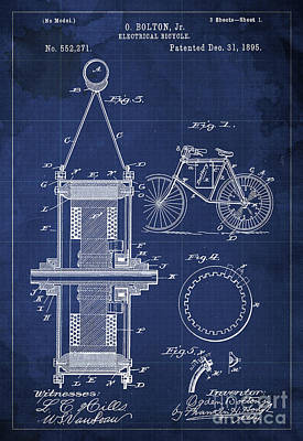 Bicycle Drawing - Electrical Bycicle Patent Blueprint Year 1895 Blue Vintage Decoration by Pablo Franchi