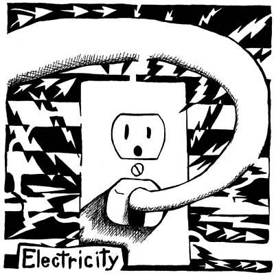 Frimer Drawing - Electricity Maze by Yonatan Frimer Maze Artist