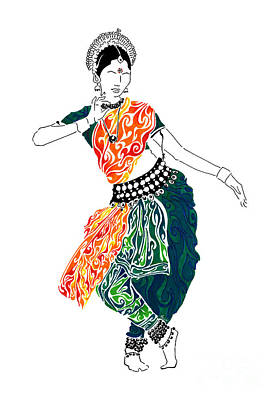 Indian Dance Drawing - Elegance by Anushree Santhosh