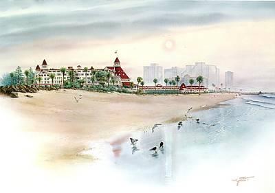 Hotel Del Coronado Painting - Elegance By The Sea, Coronado by John YATO