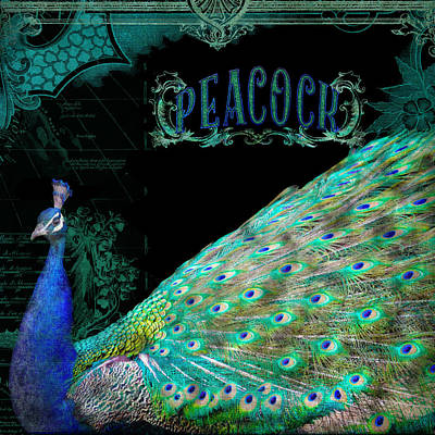 Peacock Mixed Media - Elegant Peacock W Vintage Scrolls Typography 4 by Audrey Jeanne Roberts