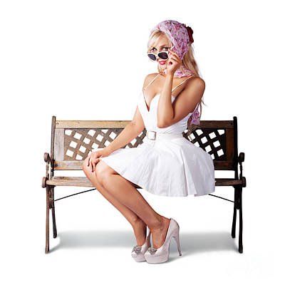 Elegant Pinup Lady Sitting Alone On Park Bench Print by Jorgo Photography - Wall Art Gallery