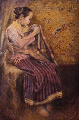 Laos Painting - Elegant Silk by Sompaseuth Chounlamany