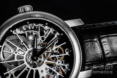 Clock Photograph - Elegant Watch With Visible Mechanism, Clockwork. Time, Fashion, Luxury Concept. by Michal Bednarek