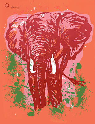 Carnivorous Drawing - Elehpant Pop Art Etching Poster  by Kim Wang
