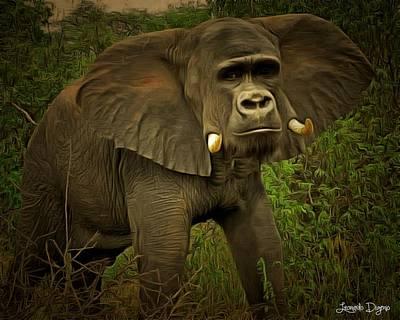 Elephants Digital Art - Elemonkey - Da by Leonardo Digenio