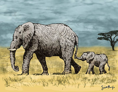 Elephant And Baby Print by Scott Rolfe