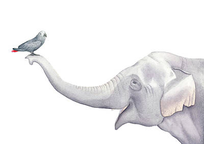 Elephant Painting - Elephant And Bird Watercolor by Taylan Apukovska