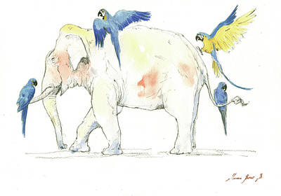 Elephant And Parrots Print by Juan Bosco