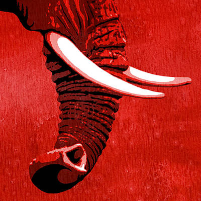 Elephant Painting - Elephant Animal Decorative Red Wall Poster 16 - By Diana Van by Diana Van