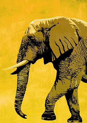 Portrait Painting - Elephant Animal Decorative Red Wall Poster 18 - By Nostalgic Art by Diana Van