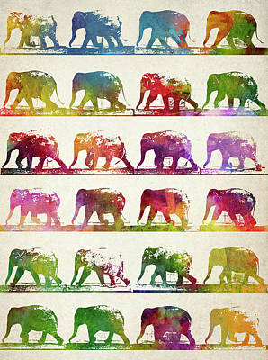 Vintage Poster Drawing - Elephant Animal Locomotion  by Aged Pixel