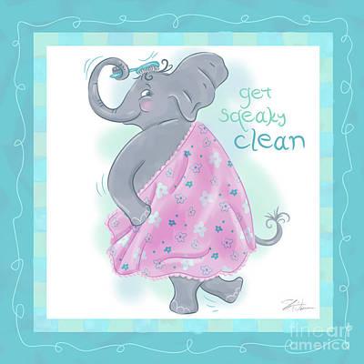 Elephant Mixed Media - Elephant Bath Time Squeaky Clean by Shari Warren