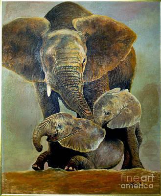 Elephant Familly Print by Peter Kulik