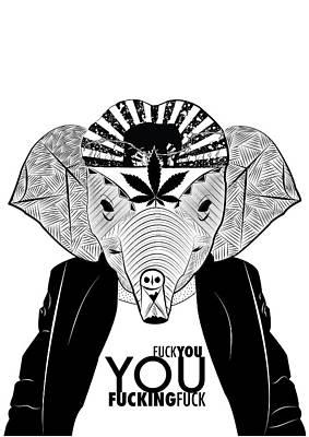 Elephant Head Print by Serkes Panda