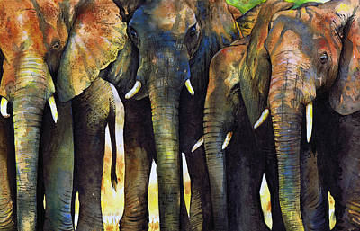 Elephants Painting - Elephant Herd by Paul Dene Marlor