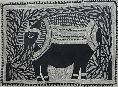 Raja Painting - Elephant In Medni Mithila Painting From Emithilahaat by Indu Devi
