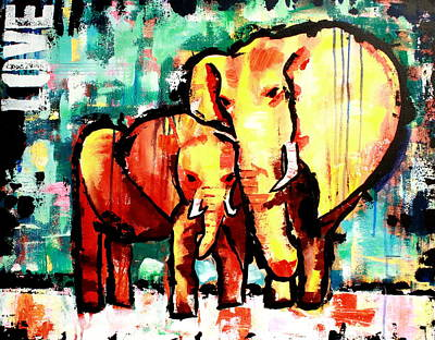 Abstract Painting - Elephant Love  by Kayla Mallen
