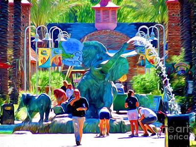 Mardi Gras Painting - Elephant Fountain At Audubon Zoo New Orleans by D S Images