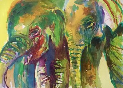 Elephants Painting - Elephant Pals by Emma Kaufmann