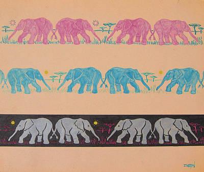 Elephants Drawing - Elephant Pattern by John Keaton