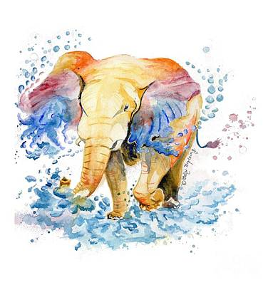 Happy Elephant Painting - Elephant Watercolor by Melly Terpening