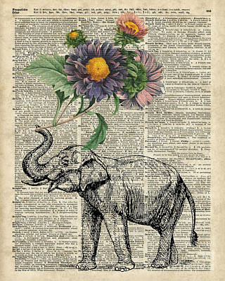 Mammals Mixed Media - Elephant With Flowers by Jacob Kuch