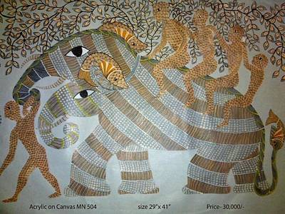 Gond Painting - Elephant With Mens by Rahul Sharma
