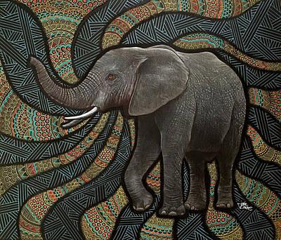 Elephant Mixed Media - Elephant Zen by Julie Oakes