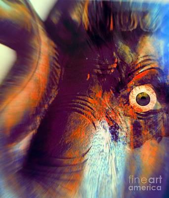 Faniart Africa America Mixed Media - Elephant Zoom by Fania Simon