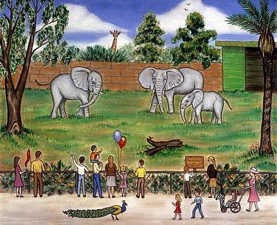 Giraffe Painting - Elephants At The Zoo by Linda Mears