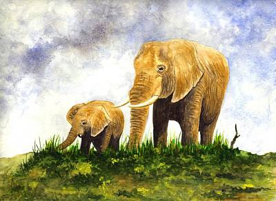 India Wildlife Painting - Elephants - Mother And Baby by Michael Vigliotti