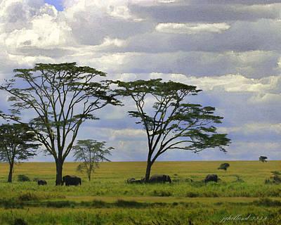 Elephants On The Serengeti Original by Joseph G Holland
