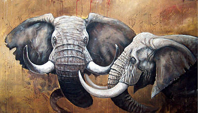 Pai Painting - Elephants by Sascha Lunyakov