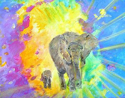 Pele Painting - Elephants by Tamara Tavernier