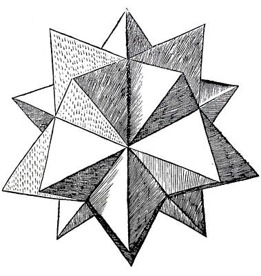 Minimal Drawing - Elevated Solid Icosahedron  by Leonardo da Vinci