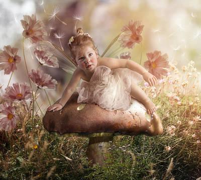 Flower Pink Fairy Child Digital Art - Elf Baby II by Cindy Grundsten